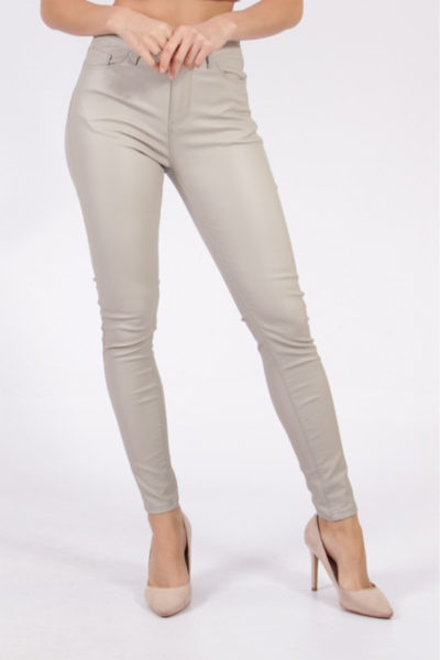 Grey Faux Leather Jeans