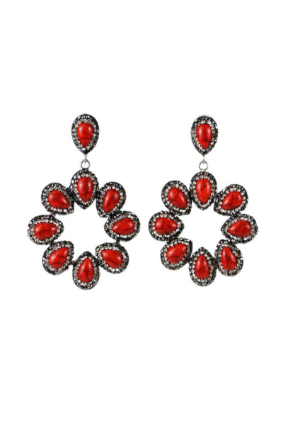 Red halo earring