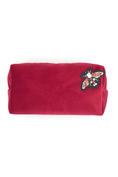 bright pink makeup bag large with bee on it.